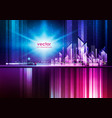 illuminated night city skyline with glowing lights vector image