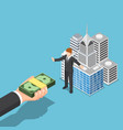isometric businessman dont sell his business vector image vector image
