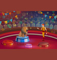 lion with open mouth and handler on circus stage vector image vector image