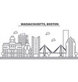 massachusetts boston architecture line skyline vector image vector image