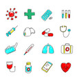medical icons set colored hand drawn signs vector image vector image