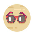 modern sunglasses in red rim on sand in circle vector image vector image
