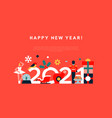 new year 2021 flat geometric holiday template vector image