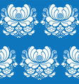 Norwegian folk art seamless white pattern on blue vector image vector image
