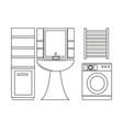 outline set of bathroom furniture vector image