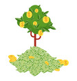 pile money and money tree huge packs paper vector image vector image