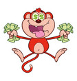 red monkey cartoon character jumping vector image vector image