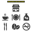 restaurant icons set on white background vector image
