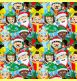 seamless christmas pattern with children vector image