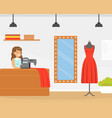 seamstress sewing fashionable clothes dressmaker vector image vector image