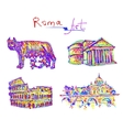 set famous place of Rome Italy original drawing in vector image