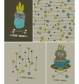 Set of isolated images and cute patterns with vector image