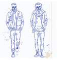set two men with skull beard vector image vector image