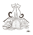Sketch with Cats in Love vector image vector image