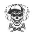skull wearing baseball cap and bandana vector image vector image