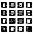 Trash can set icons grunge style vector image vector image