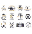 vintage hand drawn travel badge and emblem set vector image vector image