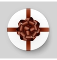 white gift box with brown bow and ribbon vector image vector image