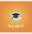 graduate hat cap graduation vector image