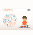 a reading boy with education search engine bar vector image