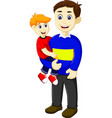 funny cartoon father holding his son vector image