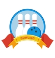 bowling logo on blue vector image