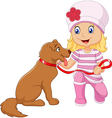 Cartoon girl with her dog isolated vector image