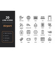 20 airport line icons vector image