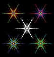 a set of hexagonal colorful stars with long ends vector image vector image