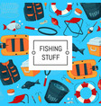 background cartoon fishing equipment vector image vector image