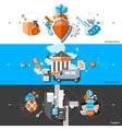 Banking Horizontal Banners Set vector image vector image