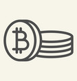 bitcoin coin line icon crypto coins vector image
