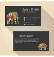 black simple business card design with elephant vector image vector image