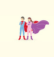 boy and girl super heroes action cartoon graphic vector image