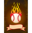 Burning baseball vector image vector image