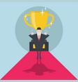 businessman standing in front of a golden trophy vector image vector image