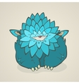 Cartoon blue thick monster with one eye Hand vector image vector image