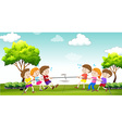 Children play tug of war in the park vector image vector image