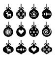 christmas ball bauble icons set vector image vector image