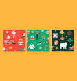christmas holiday seamless pattern flat icon set vector image