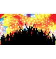 crowd happy satisfied people silhouettes vector image