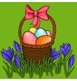 Easter egg basket with spring flowers vector image vector image