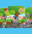 fairies flying in the park vector image vector image