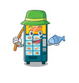 fishing bakery vending machine in a mascot vector image vector image