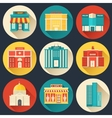 Flat colorful sity buildings set icon vector image vector image