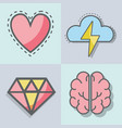 flat line set icon mental health vector image