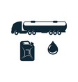 gasoline truck fuel canister oil drop vector image vector image