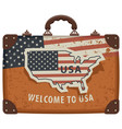 image a travel bag with map and flag usa vector image