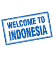 Indonesia blue square grunge welcome isolated vector image vector image