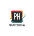 initial letter ph swoosh creative design logo vector image vector image